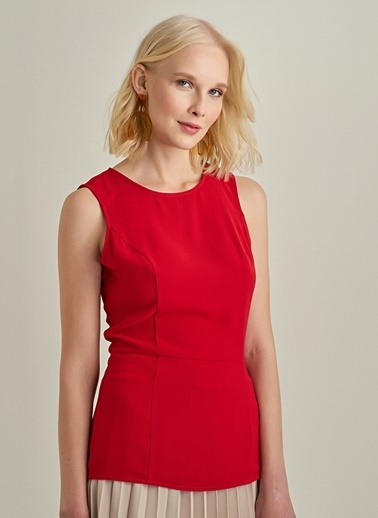 NGSTYLE Sırt Fermuarlı Bluz Kırmızı
